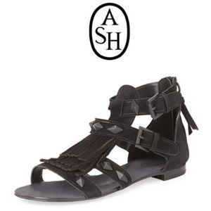 d797a961f ASH mascara fringe suede flat sandals size 11